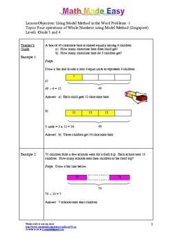 Singapore Math Word Problem 1 - Grade 3 & 4 Model Method