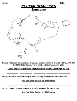 Singapore Natural Resource Worksheet and Word search