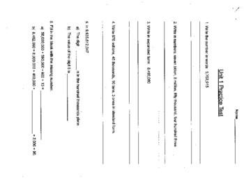 Singapore Primary Mathematics Grade 5 Unit 1 Practice Test Review