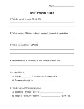 Singapore / Primary Mathematics Grade 5 Unit 1 Retake Test
