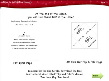 Adding and Subtracting Integers Lesson by Singin' & Signin'