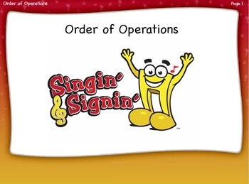 Order of Operations Lesson by Singin' & Signin'