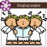 Singing Angels digital Clipart (color and black&white)