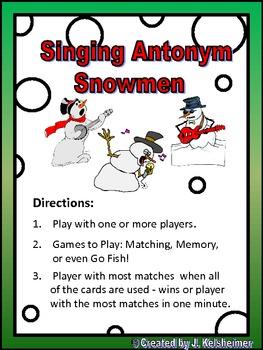 Singing Snowmen Memory Game (ANTONYMS)