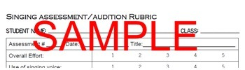 Singing Assessment Audition Rubric - Elementary Music - Back-to-School BTS