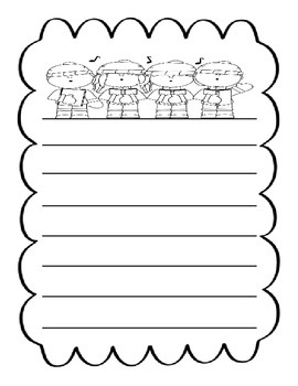 Singing Carolers Writing Page for Holidays