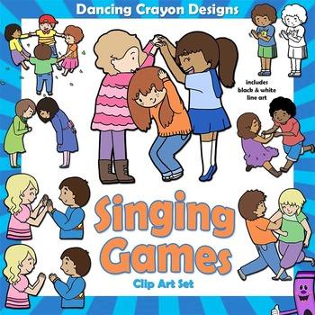 Singing Games Clip Art Kids by Dancing Crayon Designs | TpT