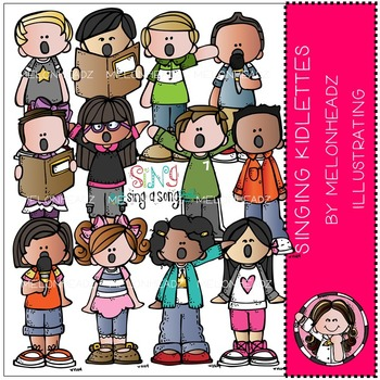 Singing Kidlettes clip art - COMBO PACK- by Melonheadz