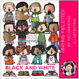 Singing Kidlettes clip art - BLACK AND WHITE- by Melonheadz