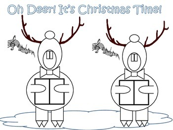Singing Reindeer Craft, Coloring Page, and Writing Stationary