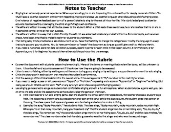 Singing Rubric for Choir, Voice, Vocal, Music, Evaluation, Assessment