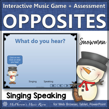 Singing or Speaking Voice Interactive Music Game + Assessment {2 voices} snowman