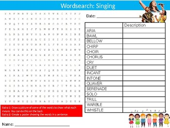 Singing Wordsearch Puzzle Sheet Keywords Music Vocal Songs