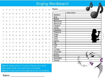 Singing Wordsearch Sheet Starter Activity Keywords Cover Music