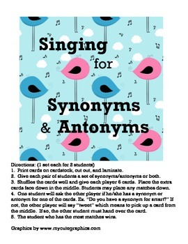 Singing for Synonyms and Antonyms