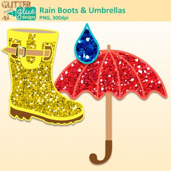 Rain Boot and Umbrella Clip Art | Graphics for Spring Activities and Resources