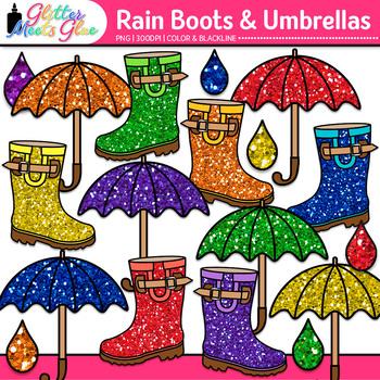 Rain Boot and Umbrella Clip Art {Graphics for Spring Activ