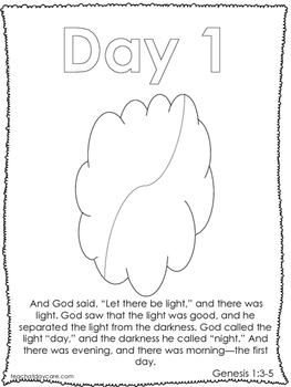Single Bible Curriculum Worksheet. Days of Creation Day 1 Preschool Bible Worksh