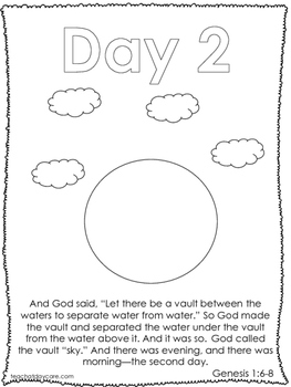 Single Bible Curriculum Worksheet. Days of Creation Day 2 Preschool Bible Worksh