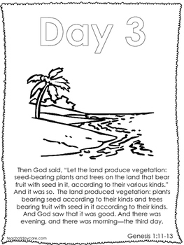 Single Bible Curriculum Worksheet. Days of Creation Day 3