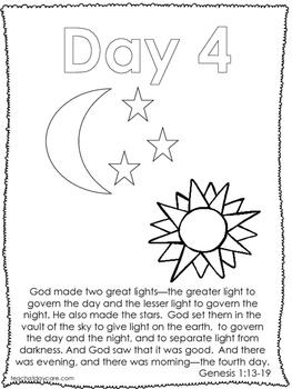 Single Bible Curriculum Worksheet. Days of Creation Day 4 Preschool Bible Worksh
