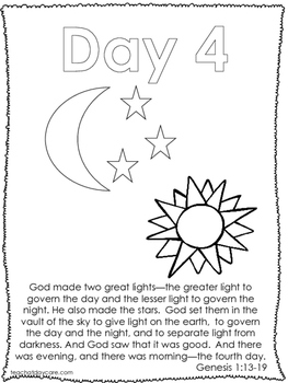Single Bible Curriculum Worksheet. Days of Creation Day 4