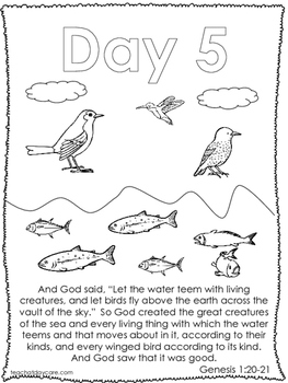 Single Bible Curriculum Worksheet. Days of Creation Day 5