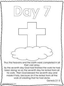 Single Bible Curriculum Worksheet. Days of Creation Day 7