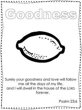 Single Bible Curriculum Worksheet. Fruit of the Spirit Goodness Preschool Bible