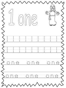 Single Bible Curriculum Worksheet. Trace the Number 1 Preschool Math  Worksheet.