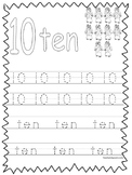 Single Bible Curriculum Worksheet. Trace the Number 10 Preschool Math Worksheet.
