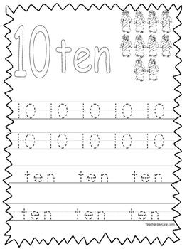 Single Bible Curriculum Worksheet. Trace the Number 10 Preschool Math  Worksheet.