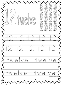 Single Bible Curriculum Worksheet. Trace the Number 12 Preschool Math Worksheet.