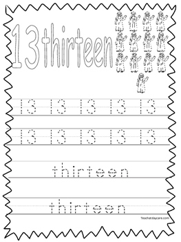 Single Bible Curriculum Worksheet. Trace the Number 13 Preschool Math  Worksheet.