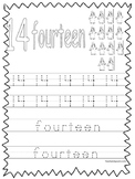 Single Bible Curriculum Worksheet. Trace the Number 14 Preschool Math Worksheet.
