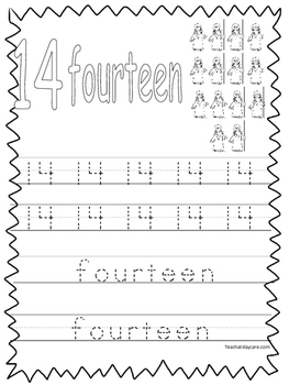 Single Bible Curriculum Worksheet. Trace the Number 14 Pre