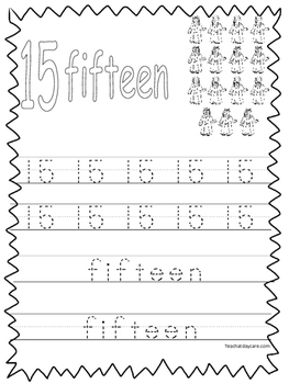 Single Bible Curriculum Worksheet. Trace the Number 15 Pre