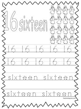 Single Bible Curriculum Worksheet. Trace the Number 16 Preschool Math Worksheet.