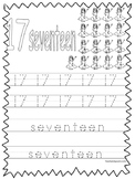 Single Bible Curriculum Worksheet. Trace the Number 17 Preschool Math Worksheet.