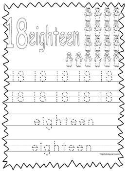 Single Bible Curriculum Worksheet. Trace the Number 18 Preschool Math Worksheet.