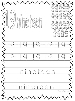 Single Bible Curriculum Worksheet. Trace the Number 19 Pre