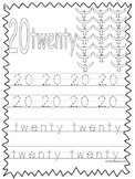 Single Bible Curriculum Worksheet. Trace the Number 20 Preschool Math Worksheet.