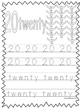 Single Bible Curriculum Worksheet. Trace the Number 20 Pre