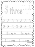 Single Bible Curriculum Worksheet. Trace the Number 3 Preschool Math Worksheet.