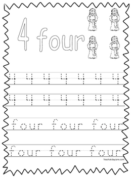 Single Bible Curriculum Worksheet. Trace the Number 4 Preschool Math  Worksheet.