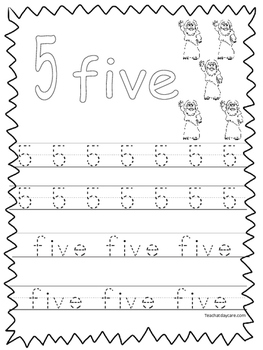 Single Bible Curriculum Worksheet. Trace the Number 5 Preschool Math  Worksheet.