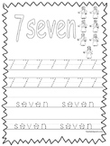 Single Bible Curriculum Worksheet. Trace the Number 7 Preschool Math Worksheet.