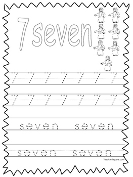 Tracing Number 7 Worksheets & Teaching Resources | TpT
