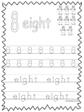 Single Bible Curriculum Worksheet. Trace the Number 8 Preschool Math Worksheet.