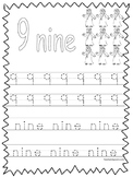 Single Bible Curriculum Worksheet. Trace the Number 9 Preschool Math Worksheet.